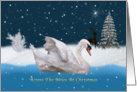 Christmas, Across The Miles, Snowy Night with A Swan on a Lake card