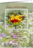 Birthday, 70th, Religious, Tulip and Butterfly card