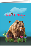 Birthday, Bear, Butterflies, and Flowers card