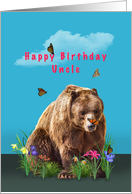 Birthday, Uncle, Bear, Butterflies, and Flowers card
