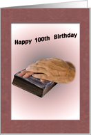 Birthday, 100th, Aged Hands, Worn Bible card