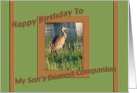 Son's Dearest Companion Birthday Card with Sandhill Crane card