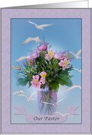 Birthday, Pastor, Religious, Birds and Flowers card