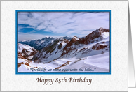 85th Birthday, Religious, Snowy Mountains card