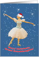 Christmas Great Granddaughter, Ballerina, Snow, Stars card