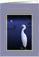 Christmas, Son and Family, Religious, Nativity, Egret card
