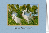 Anniversary, Love and Romance, Two Great Egret Birds card