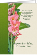 Birthday, Sister-in-law, Pink Gladiolus card