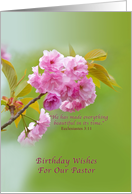 Birthday, Pastor, Cherry Blossom Flowers, Religious card