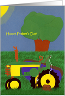 Father's Day Green Tractor-Fishing card