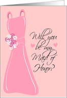 Will you be my Maid of Honor? Pink card