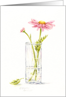 Thinking of You Pink Daisy In Vase card