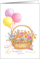 Birthday Balloons & Wildflowers Basket card