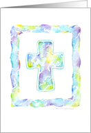 Ash Wednesday Cross Watercolor Shades of Blue card