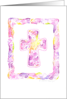 Confirmation Shades of Pink Watercolor Cross card