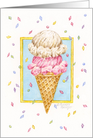 Birthday Ice Cream Double Decker Cone card