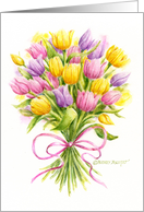 Easter Bright And Beautiful Spring Tulip Bouquet card