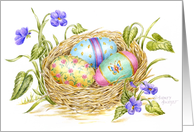 Easter Painted Eggs In Nest card