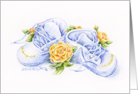 Grandparents New Baby Congratulations Baby Shoes with Yellow Roses card