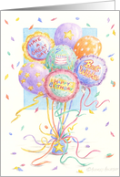 Birthday Balloons With Celebration Wishes card