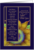 Ordination, Priest, Catholic, Paper Greeting Card or FlipEcard, 'Sunflower', Rosary card