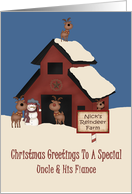 Uncle & His Fiance, Reindeer Farm, Christmas Card