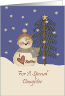 Daughter Cute Snowman Christmas Card