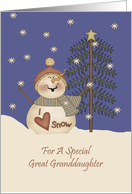 Great Granddaughter Cute Snowman Christmas Card