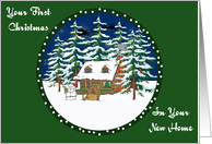 Log Cabin First Christmas In A New Home Card