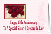 Sister and Brother In Law 40th Anniversary Card