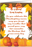 A Blessing For Great Grandma Happy Thanksgiving Card