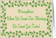 Daughter Count Our Blessings Thank You Card