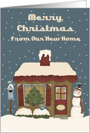 Cute Little Cottage New Address Christmas Card