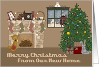 Cute Country Living Room New Address Christmas Card