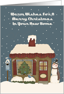 Primitive Cottage New Home Christmas Card