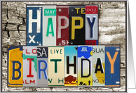 License Plates Happy Birthday Card Car Lover card