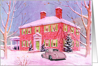 Classic Hot Rod And Stately Home Holiday Card
