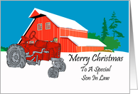 Son In Law Antique Tractor Christmas Card