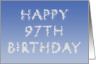 Happy 97th Birthday written in clouds card