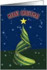 Merry Christmas with Ribbon Cristmas Tree card