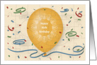 Happy 95th Birthday with orange balloon and puzzle grid card