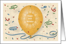 Happy 97th Birthday with orange balloon and puzzle grid card