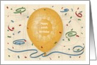 Happy 100th Birthday with orange balloon and puzzle grid card