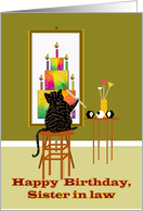 Cat Painting Birthday Cake card