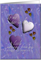 Hearts Sister-in-law card