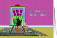 Easter Tulips and Cat Painting card