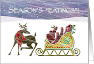 Hot dog Holiday Sleigh Deer card