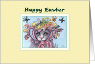 Happy Easter, cat in an Easter bonnet card