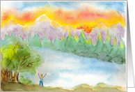 Encouragement Be Happy Mountain Landscape Watercolor Card