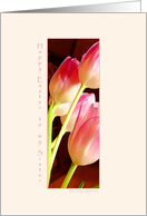 Easter, Sister,Pink Tulips Long card